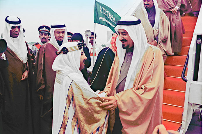 HH Shaikh Isa bin Salman Al Khalifa receives HM King Khalid of the Kingdom of Saudi Arabia