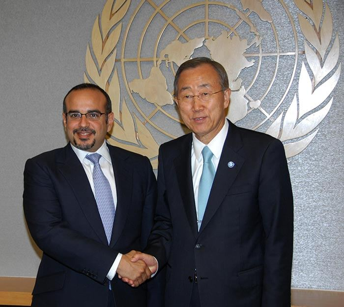 HRH Prince Salman bin Hamad Al Khalifa meets former UN Secretary-General Ban Ki-moon in New York, USA